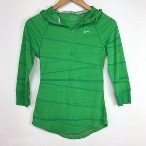 Nike Dri-Fit Green Zip 3/4 Sleeve Hoodie Pullover